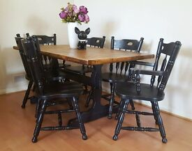 Oak Rectangle Six Seat Dining Set & Chairs Farmhouse Style Black Distressed Industrial Rustic Chic