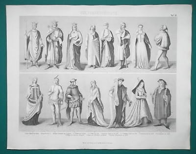 COSTUME Kings Queens England Austria Germany Italy - 1870s Superb Print