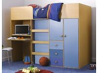 Quality Kids Mid-sleeper Bed, Desk and Storage + Mattress BRAND NEW