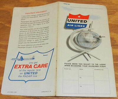1959 United Airlines Ticket Folder Unused