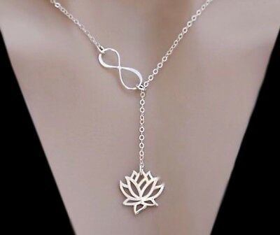 Sterling Silver Rose Gold Vermeil Lotus Infinity Lariat Necklace Yoga Jewelry -