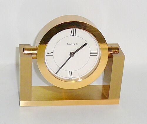 TIFFANY & CO. BRASS DESK/MANTEL SWIVEL CLOCK