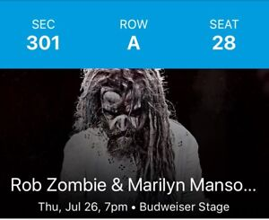 Rob Zombie Marilyn Manson tickets Row A section 301