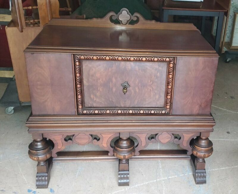 Antique Ornate Jacobean Style Side Server