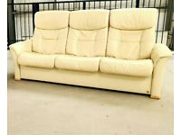 Similar to Stressless 3 seater recliner leather sofa cream 26620