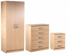 **7-DAY MONEY BACK GUARANTEE!**-READY BUILT WARDROBE SET Chest of drawers and bedside table included