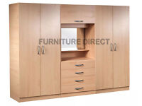 BRAND NEW- Ready Built 4 Door Fitment Wardrobe w/ Dresser Table Chest and Mirror