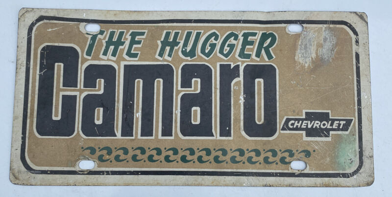 Vintage Metal Camaro The Hugger Chevrolet License Plate Car Tag