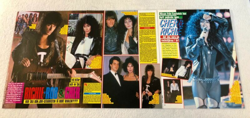 CHER RICHIE SAMBORA 1980s Clippings Poster Swedish Music magazine Okej Vintage