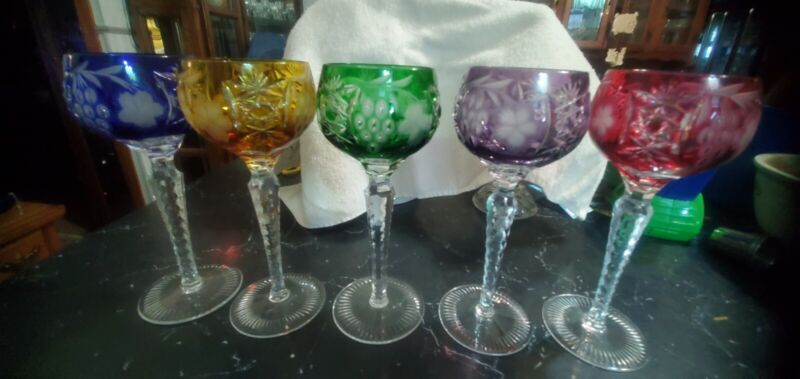 (5)  Wine  Goblets Colored Cut to Clear Bohemian RED/GREEN/BLUE /PURPLE/GOLD