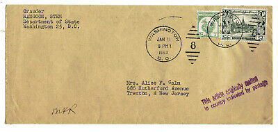 Cover from Rangoon Burma with Scott 109 126 stamps 1953 Diplomatic Pouch post