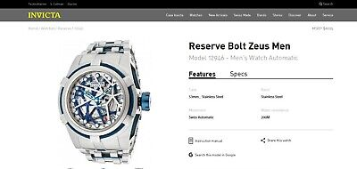 Invicta Reserve Bolt Zeus 12946 Men's Swiss Made Automatic - NIB