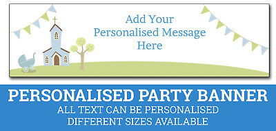 Personalised Boys Christening Party Banner - Same Day Despatch - C-Boy-1 (Christening Party Banners)