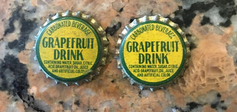 Vintage Two Grapefruit Cork Top Bottle Caps NOS
