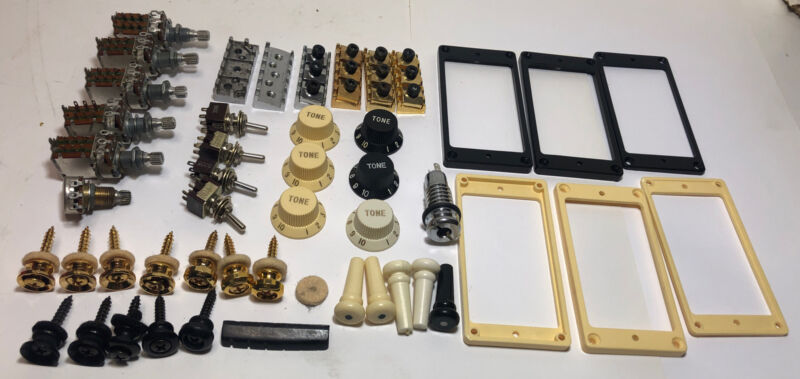 Large Lot of Assorted Vintage Guitar REPAIR Parts nos Over 200 Individual pieces