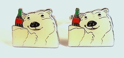Silver Tone Cufflinks with Coca Cola Polar Bear Dated 1994