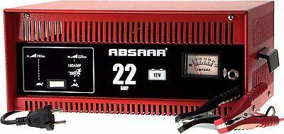 ABSAAR Batterie-Ladegerät 22 Ampere 12 Volt mit Starthilfe - Werkstattladegerät