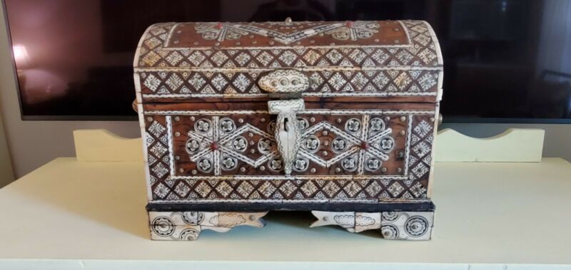 Ivory Inlaid Wood Cabinet