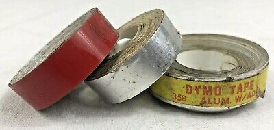 Lot Of 3 Vintage Dymo Tape Label Rolls 358 Aluminum And Red Adhesive Labeler 12