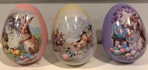 Three Metal Fillable Easter Egg Tins