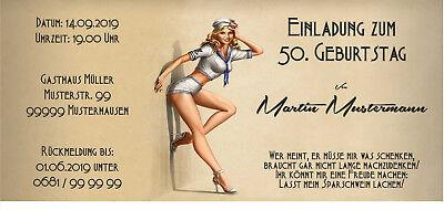 rtstag jedes Alter Pinup alt vintage originell 50,60,70 (Vintage 60 Geburtstag Einladungen)