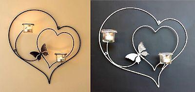 Wandteelichthalter Herz 39cm Teelichthalter aus Metall Wandleuchter Kerzenhalter