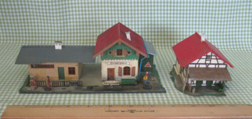 Vintage Faller Germany Zindelstein Railway Station. Japan Metal Figures