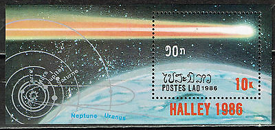 LAOS SPACE COMET HALLEY SOUVENIR SHEET 1986 MNH