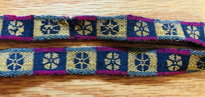 Beautiful Authentic Bolivian Indian Hand Woven Sash With Floral Designs