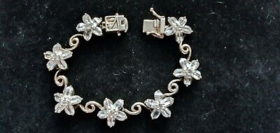 925 Sterling Silver/ Cubic Zirconia Daisy Shaped Bracelet/ Box Fastener 6 inches for sale  Shipping to South Africa