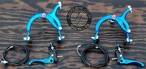 Blue-OldSchool-BMX-Bike-MX-Brake-Set-Lever-Cable-Caliper-Vintage-Cruiser-Bicycle