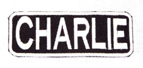 CHARLIE White on Black Iron on Name Tag Patch for Motorcycle Biker Vest NB207