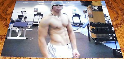 Shirtless Male Muscular Jock Gym Workout Pose Beenie Cap Abs PHOTO 4X6 P1580