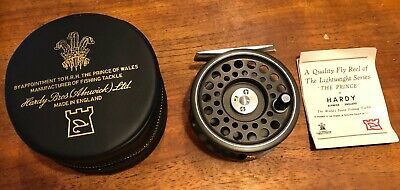 An unused, as new Hardy The Prince 7/8 fly reel with papers, original case & box