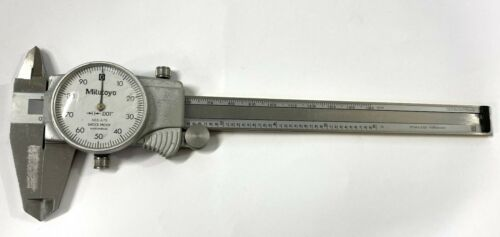 "Mitutoyo 505-675 Dial Caliper with TiN Coated Beam, 0-6"" Range, .001"" Graduation"
