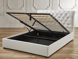 Valencia Gas Lift Storage PU Leather Bed Frame Double/ Queen/King