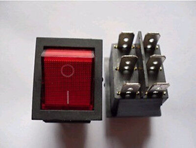 5pcs Dpdt Red Indicator Light 6 Pin Rocker Switch