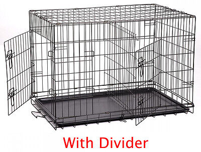 "NEW Large 42"" Folding Divider Pet Dog Cage Crate Kennel With Plastic Pan 426"