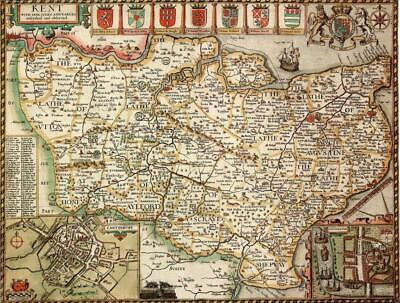 Kent Historical Laminated Map (1610)