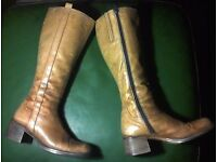 Jones Bootmaker, Quality Wood Heeled Tan Leather Knee Length Boots Great Condition Size 5