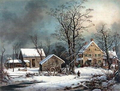 4105.Landscape of farm house in middle of winter.POSTER.Home School art - Winter School Decorations