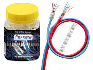 RJ45 CAT5e End pass through Ethernet plug by Platinum Connector