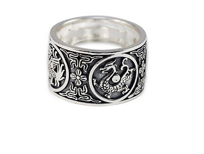 Men Punk 999 Sterling Silver Dragon, Tiger, Bird, Turtle Totem Vintage Ring Fashion Jewelry