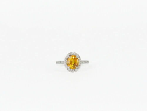 18kt White Gold Orange Sapphire & Diamond Ring