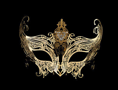 Mask Venetian Wolf in Lace Metal Golden and Rhinestones Carnival Venice 1263