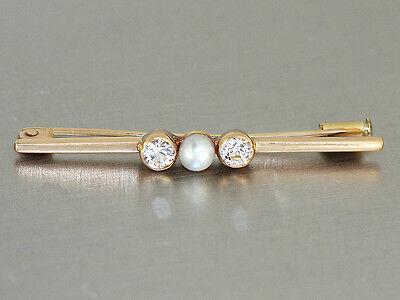 Brosche Gold 585 mit Perle + Zirkonias, Goldbrosche 14 kt - Stabbrosche