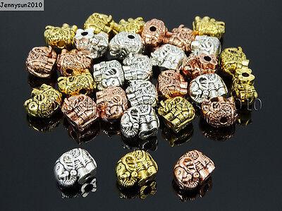 Solid Metal Elephant Bracelet Necklace Connector Charm Beads Tibetan Silver - Elephant Beads