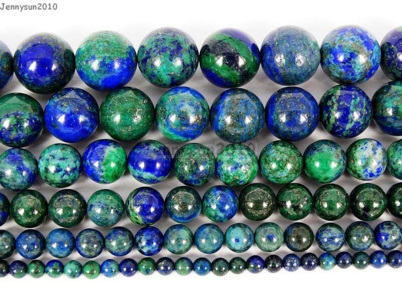 Natural Azurite In Lapis Lazuli Gemstone Round Beads 16