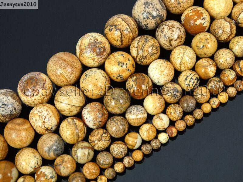 Natural Picture Jasper Gemstone Round Beads 16