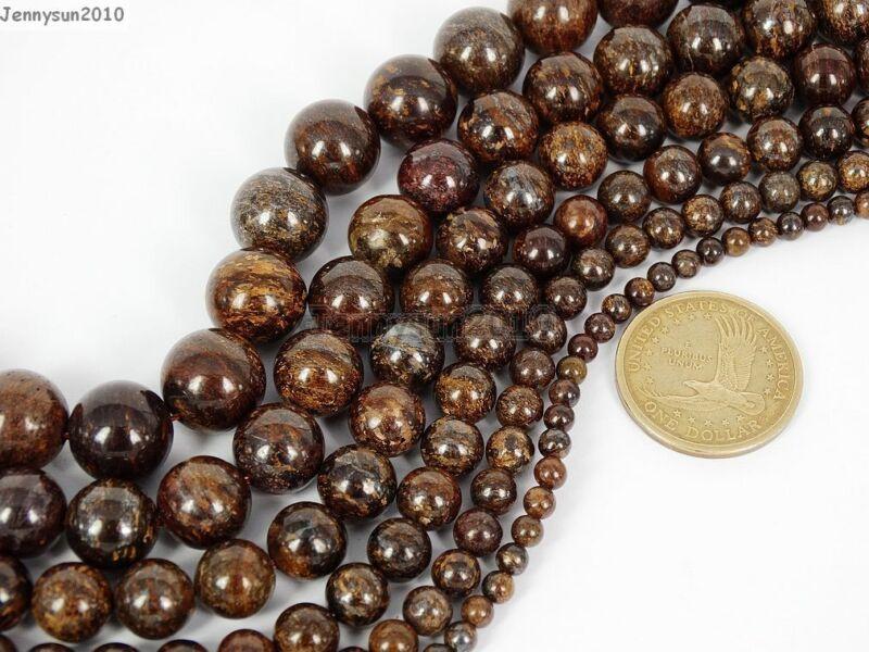 Natural Bronzite Jasper Gemstone Round Beads 15.5